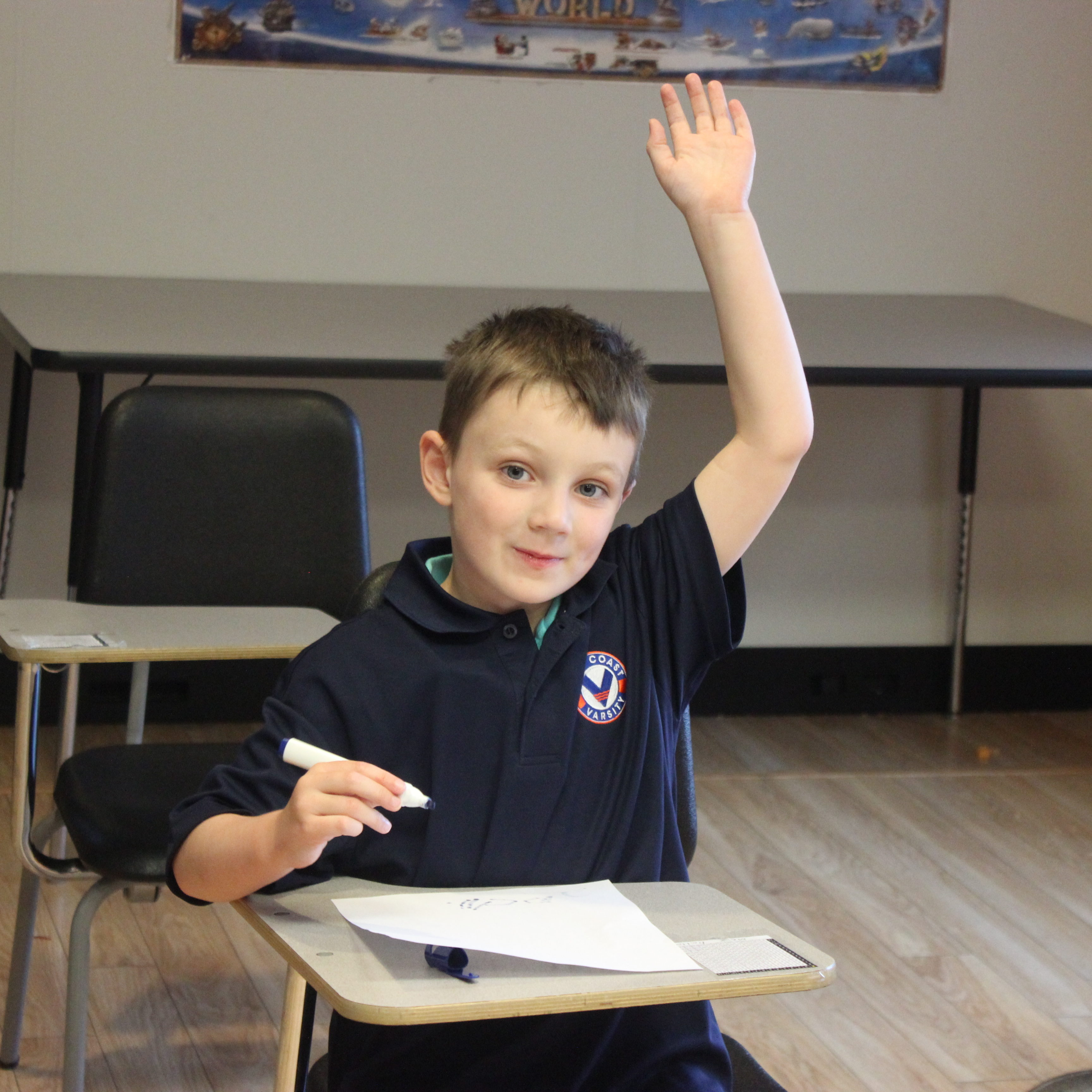 J hand up in class vertical